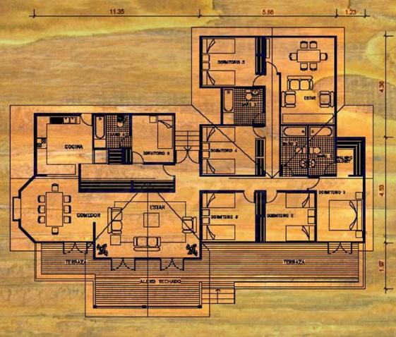 Plano de una casa u hoster a de m s de 200 m2 - Planos casa de madera ...