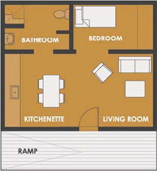 Planos de casa de 45m2 con 1 solo dormitorio for Diseno de apartamentos de 45m2