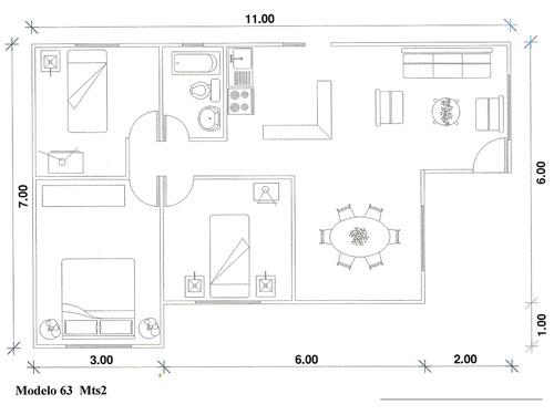 planos de casa de madera con 3 dormitorios y 63m2
