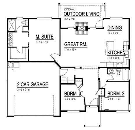 Planos de casa con 3 dormitorios y garaje para 2 autom viles - Planos de casas con garaje ...