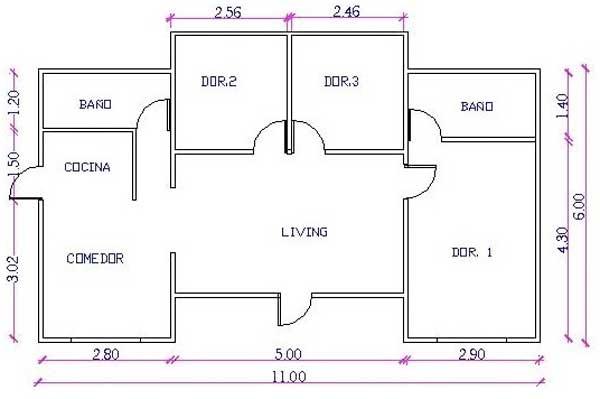 Plano de casa angosta de dos pisos tres dormitorios y - Plano de casa ...