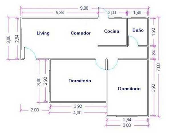 Plano de casa de 51m2 con 2 dormitorios for Planos planos de casas