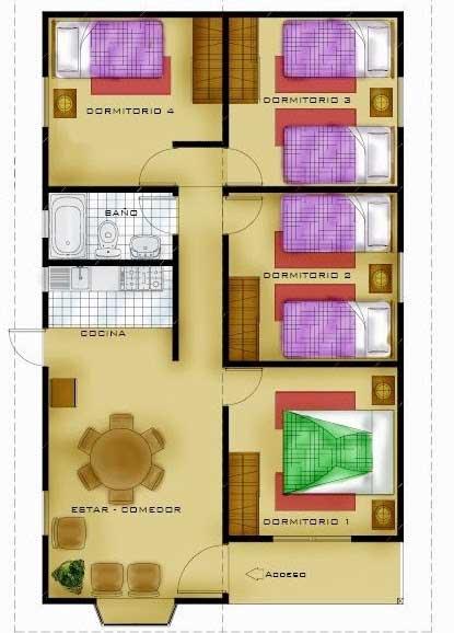 plano de casa de 68m2 con 4 dormitorios