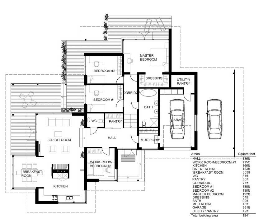 Plano de casa muy grande y lujosa con diseño contemporáneo