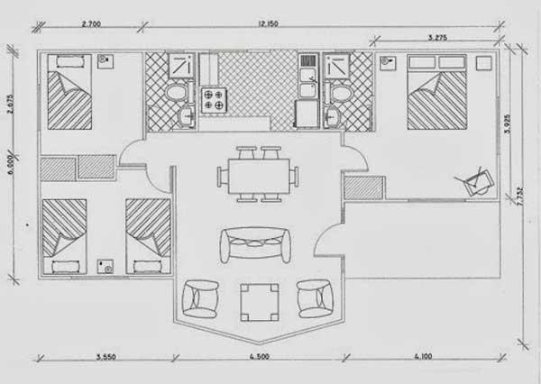 Plano de casa de 68m2 con 3 dormitorios for Disenos y planos de casas prefabricadas