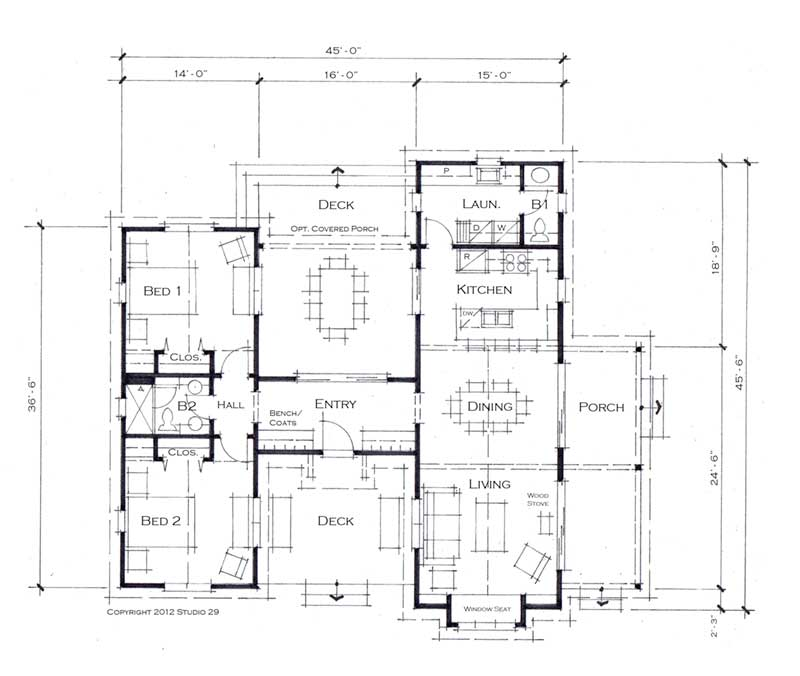 Plano de casa prefabricada de 133 m2 y 2 dormitorios for Planos de casa habitacion
