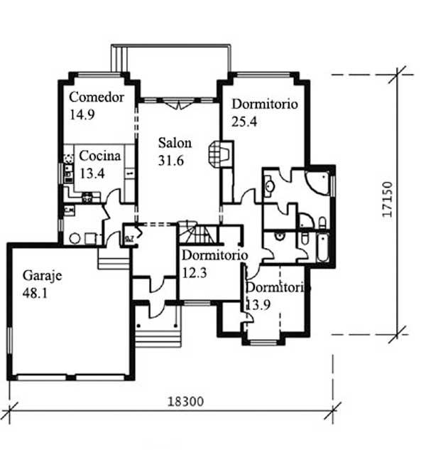 Plano de cl sica casa de m s de 200m2 de 5 dormitorios for Planos de casas 200m2