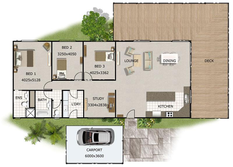 Plano de casa grane con tres dormitorios y dos cuartos de baño