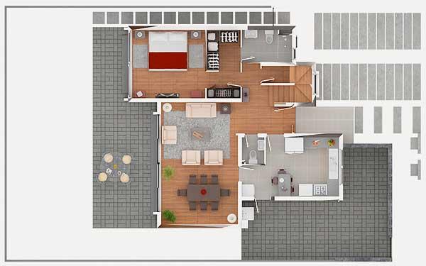 Planos de casa estilo mediterr nea de 139m2 y 2 pisos - Planos casas planta baja ...