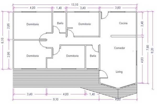Planos de casa de 88 m2 montada sobre palafitos for Ver plano de casa economica
