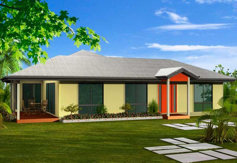 Hermoso plano de casa de un piso y m s de 150 m2 for Casas modernas grandes de un piso