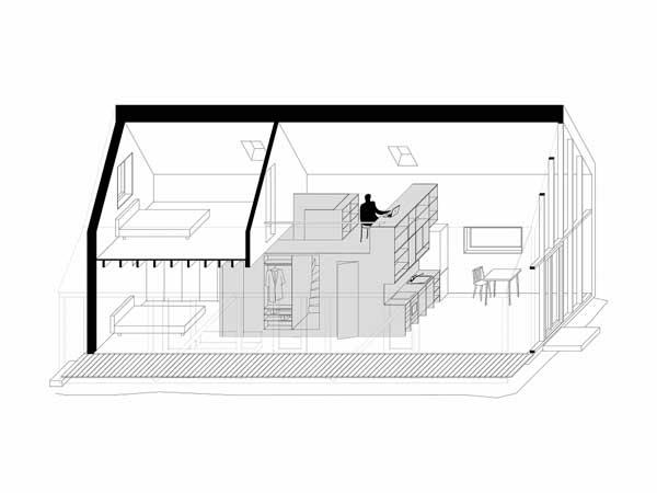 plano de casa moderna de piso y medio estilo loft. Black Bedroom Furniture Sets. Home Design Ideas