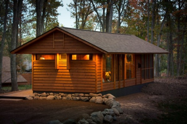 fachada cabana prefabricada hermosa