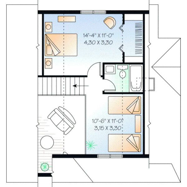 Hermoso plano de casa de dos pisos con 108 m2 for Planos para segundo piso