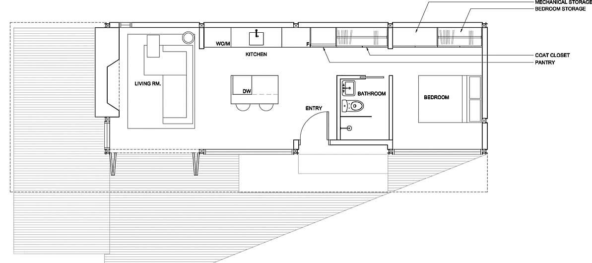 Plano de casa o caba a prefabricada o modular con un - Planos casas modulares ...