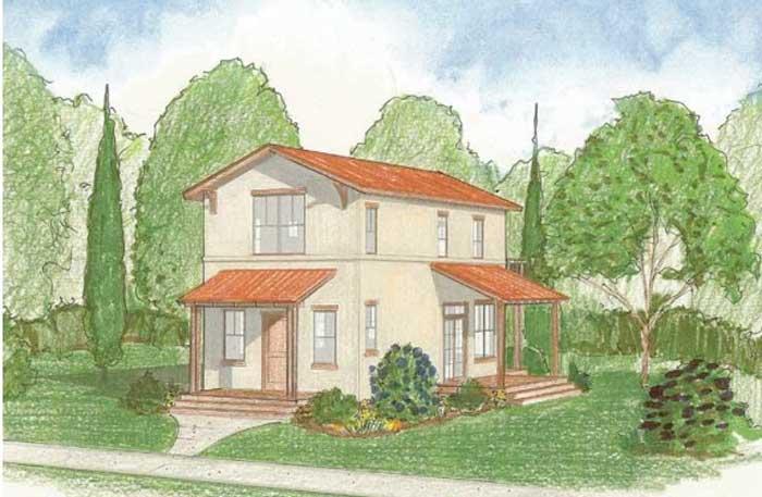 Plano de casa de dos pisos con estilo colonial for Ver fachadas de casas