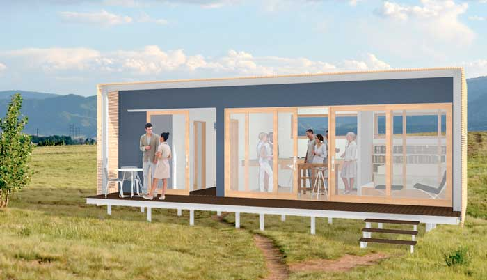 Planos de moderna casa prefabricada for Disenos y planos de casas prefabricadas