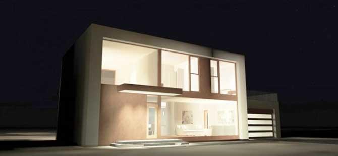 Plano de casa moderna de 2 pisos y 4 dormitorios for Casa minimalista 4 dormitorios