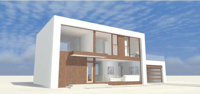Plano de casa moderna de 2 pisos y 4 dormitorios for Casa minimalista 2 plantas