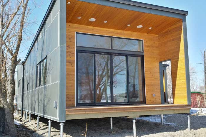 Plano de casa prefabricada de containers de casi 100 m2 for Casa container costo