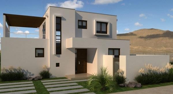 Plano moderna casa de dos pisos de mas de 130 m2 for Casa minimalista planos