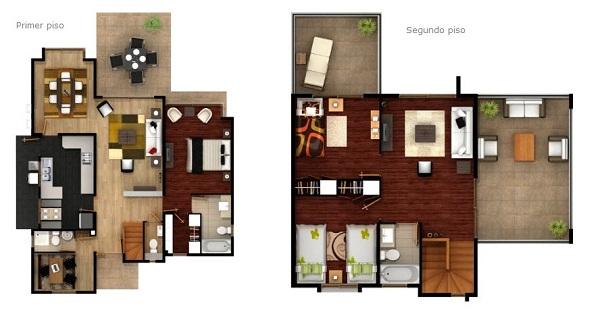 Plano moderna casa de dos pisos de mas de 130 m2 for Casa moderna 60 m2