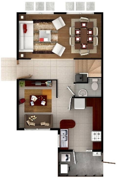 Plano de casa con atractivo dise o de dos pisos de 78 m2 for Fotos de pisos de diseno