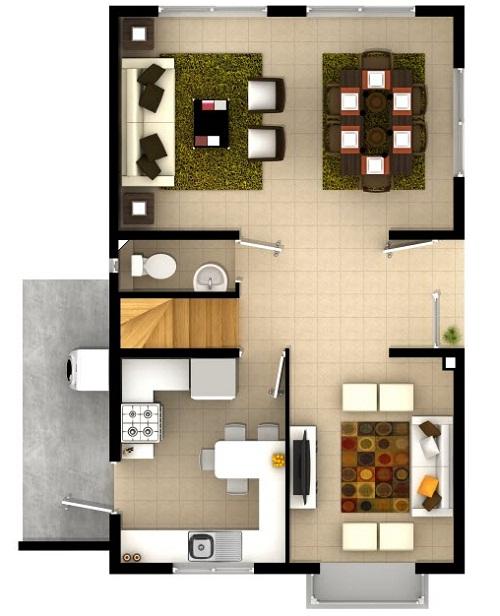 Plano de bonito dise o de cada de dos pisos de 95 m2 for Casas modernas de un piso por dentro