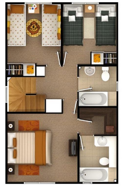 Plano de bonito dise o de cada de dos pisos de 95 m2 for Fachadas de casas segundo piso