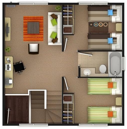 Plano preciosa casa de dos pisos de 137 m2 for Como hacer una piscina en un segundo piso