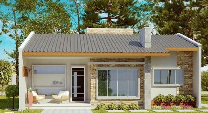 Planos de casas para sitio angosto de 1 piso y 2 dormitorios for Fachadas modernas para casas de dos pisos