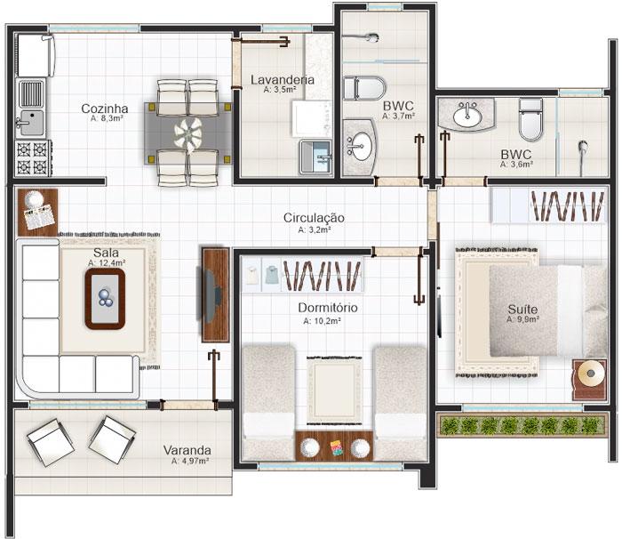 Planos de casas para sitio angosto de 1 piso y 2 dormitorios for Plano casa un piso