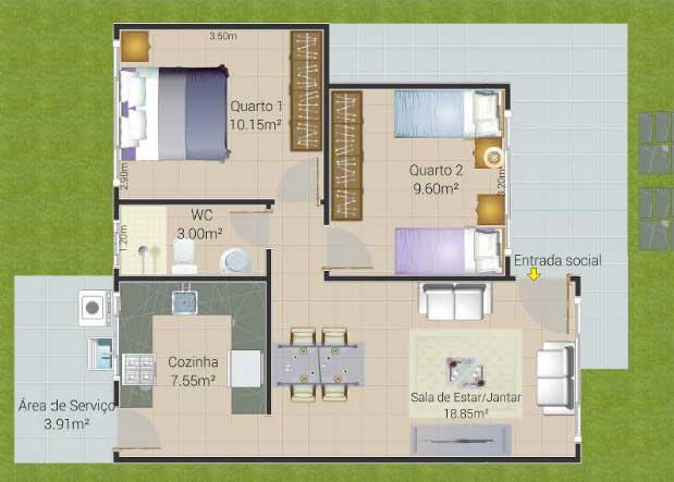 Planos de casas para terreno angosto de 70m2 for Casas modernas de 70m2
