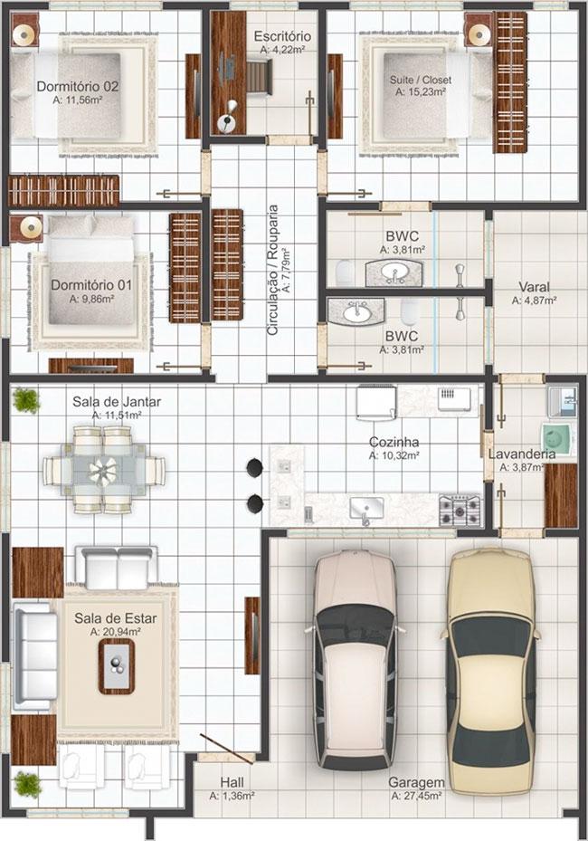 Planos de casa de 3 dormitorios 1 piso 145 m2 ver planos for Plano casa minimalista 3 dormitorios