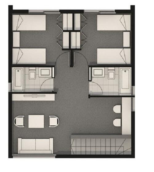Plano de magnifica casa con terraza de dos pisos de 178 m2 Planos de segundo piso