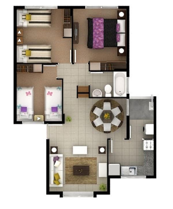 Acogedora casa de un piso de 62 m2 for Planos de casas pequenas de una planta