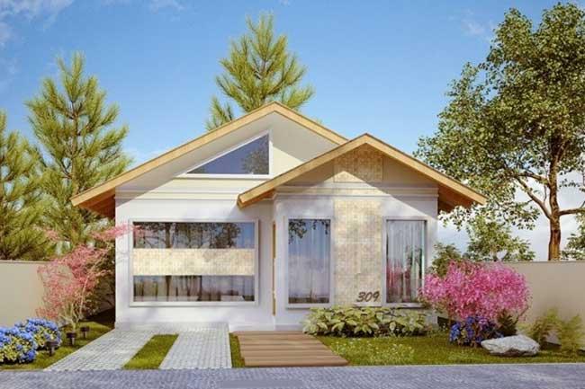 Plano de casa de un nivel con tres dormitorios 70 m2 for Casa moderna 60 m2