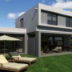 Plano de magnifica casa con terraza de dos pisos de 178 m2