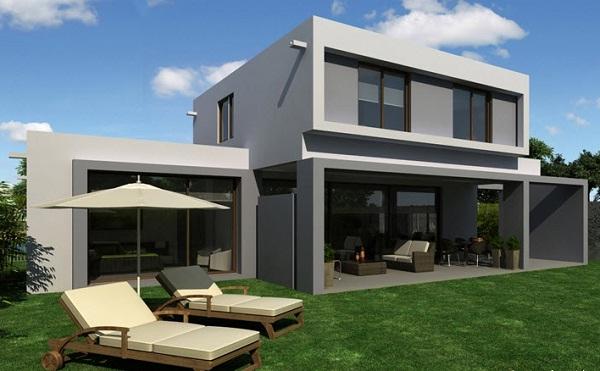 Plano de magnifica casa con terraza de dos pisos de 178 m2 for Modelos de casas con terrazas modernas