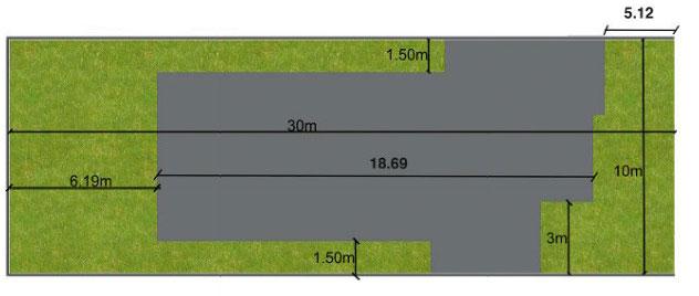 Plano de casa para sitio de 10x30 metros con 3 dormitorios for Medidas de albercas para casas