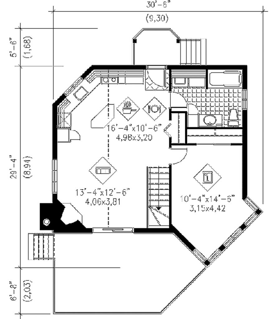 Plano de casa estilo contempor nea de 64 m2 for Planos planos de casas