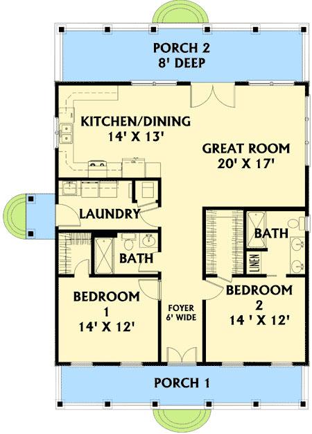 Plano de casa de 1 piso con 2 dormitorios for 40 foot wide lot house plans