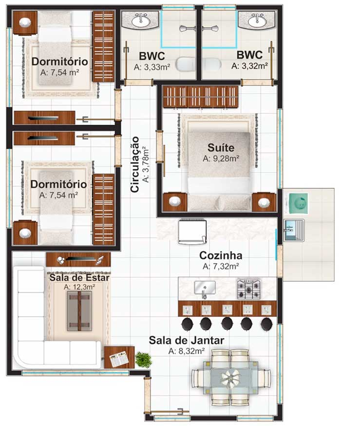 Plano de casa de un nivel con tres dormitorios 70 m2 for Planos de casas de tres dormitorios en una planta
