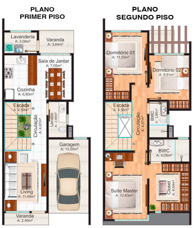 Planos de casa de 2 pisos y 3 dormitorios bastante lujoso for Planos de casas medianas