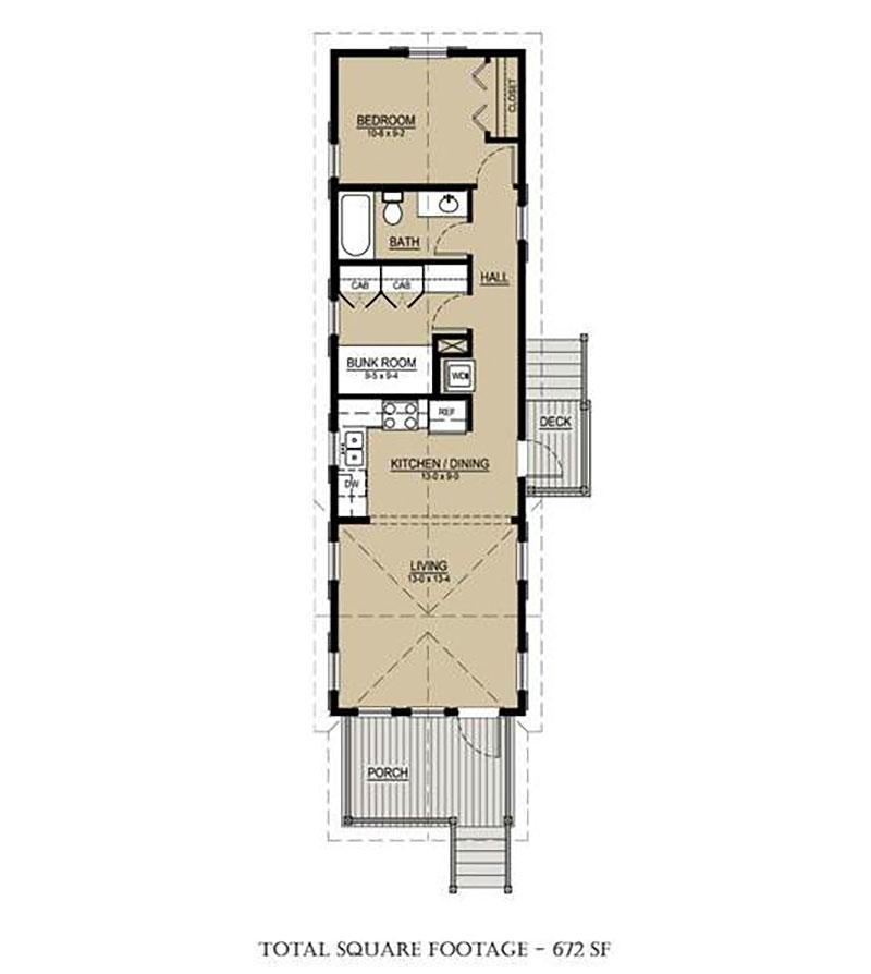 Plano de casa para sitio angosto con 1 dormitorio for Plano para cocina americana