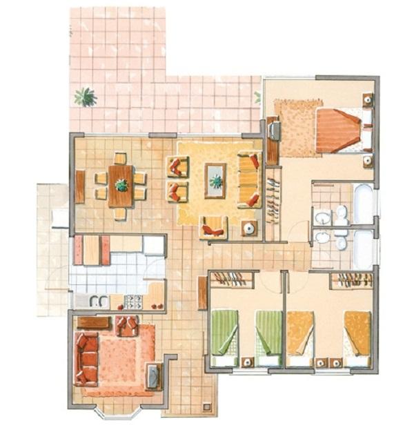 Plano cl sica casa de un piso de 94 m2 for Casa rodante clasica
