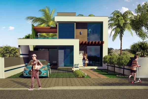 Plano de moderna casa de dos pisos con 204 m2 for Casa minimalista 100 metros