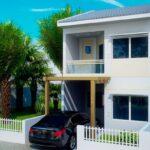 fachada casa plano de dos pisos