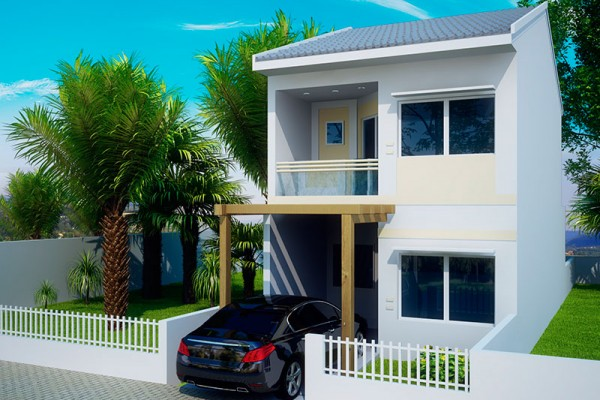 Plano de linda casa de 2 pisos 3 dormitorios y 106 m2 for Fachadas de casas de dos pisos sencillas