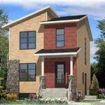 Plano de casa de 2 pisos con 2 dormitorios